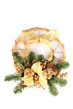 Christmas decoration on the door. Isolated on white background Stock Photo