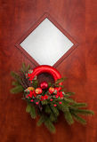 Christmas decoration on the door Royalty Free Stock Photo