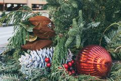 A Christmas Decoration in Downtown Des Moines, Iowa royalty free stock photos