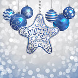 Christmas decoration. Elegant Christmas background with silver and dark blue evening balls royalty free illustration
