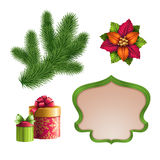 Christmas decoration elements, festive isolated illustration set Stock Photography