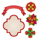 Christmas decoration elements, red ribbon, bows, banner Stock Photos