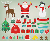 Christmas decoration elements with Santa Claus, Reindeer and Snowman. Hand Drawn. Vector Stock Image
