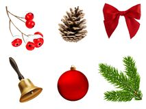 Vector christmas decoration elements set Stock Photo
