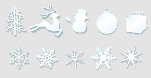 Christmas decoration elements. Vector Christmas Decoration Elements On Gray Background, Eps10, Transparency Used Stock Images