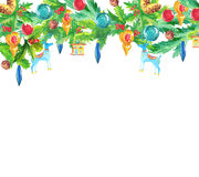 Christmas decoration elements, watercolor garland Royalty Free Stock Photography