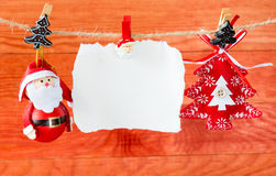 Christmas decoration and empty paper sheet Stock Images