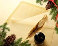 Christmas decoration on envelope Royalty Free Stock Image