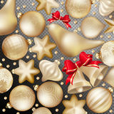 Christmas decoration. EPS 10. Christmas decoration. Golden baubles, balls, stars. Seasonal card concept. EPS 10 vector file included Royalty Free Stock Photo