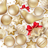 Christmas decoration. EPS 10. Christmas decoration. Golden baubles, balls, stars. Seasonal card concept. EPS 10 vector file included Stock Image