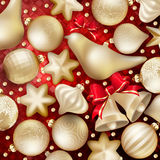 Christmas decoration. EPS 10. Christmas decoration. Golden baubles, balls, stars. Seasonal card concept. EPS 10 vector file included Royalty Free Stock Images