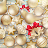 Christmas decoration. EPS 10. Christmas decoration. Golden baubles, balls, stars. Seasonal card concept. EPS 10 vector file included Stock Photos