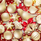 Christmas decoration. EPS 10. Christmas decoration. Golden baubles, balls, stars. Seasonal card concept. EPS 10 vector file included stock illustration