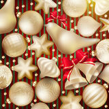 Christmas decoration. EPS 10. Christmas decoration. Golden baubles, balls, stars. Seasonal card concept. EPS 10 vector file included Royalty Free Stock Image