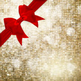 Christmas decoration. EPS 10. Red ribbon bow with gold mosaic bokeh. Christmas decoration. EPS 10 vector file included Royalty Free Stock Images