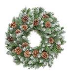 Christmas decoration evergreen pine wreath cones white backgroun. Christmas decoration evergreen pine wreath with cones isolated on white background Stock Photo