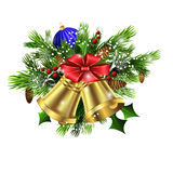 Christmas decoration   evergreen trees and bells Stock Photo