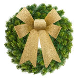 Christmas decoration evergreen wreath with golden ribbon Royalty Free Stock Photo