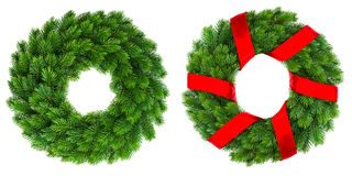 Christmas decoration evergreen wreath with red ribbon royalty free stock photography