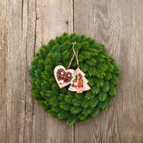 Christmas decoration evergreen wreath Stock Photography