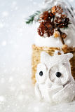 Christmas decoration with fairy white owl Stock Image