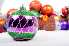 Christmas Decoration on fake snow Stock Images