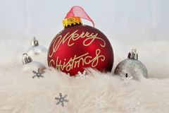 Christmas decoration with fake snow Royalty Free Stock Photos
