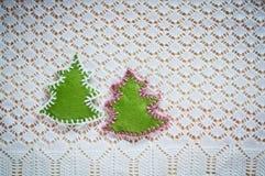 Christmas decoration with felt Christmas trees Royalty Free Stock Photos