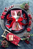 Christmas decoration. Festive plate and cutlery with Christmas decoration. Christmas background Royalty Free Stock Photo