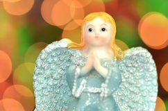 Christmas decoration, figure of blue angel Stock Images