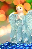 Christmas decoration, figure of blue angel Royalty Free Stock Photos