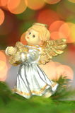 Christmas decoration, figure of little angel playing the harp Stock Photos