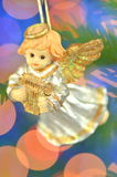 Christmas decoration, figure of little angel playing the harp Royalty Free Stock Photos