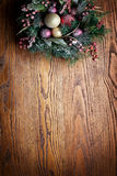 Christmas decoration with fir and baubles. Royalty Free Stock Image