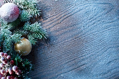 Christmas decoration with fir and baubles. Stock Image