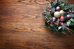 Christmas decoration with fir and baubles. Stock Photo