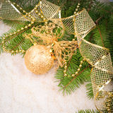 Christmas decoration on fir branch Stock Image