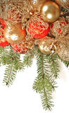 Christmas decoration on fir branch Stock Photos