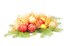 Christmas decoration on fir branch Stock Photo