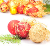 Christmas decoration on fir branch Royalty Free Stock Images
