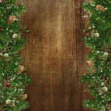 Christmas decoration with fir branch border on grunge wood backg Stock Photo