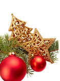 Christmas Decoration (fir branch,christmas ball,gold star) isola Royalty Free Stock Images