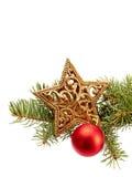 Christmas Decoration (fir branch,christmas ball,gold star) isola Stock Photos