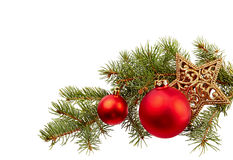 Christmas Decoration (fir branch,christmas ball,gold star) isola Royalty Free Stock Photography
