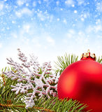 Christmas Decoration (fir branch,christmas ball,snowflake) Royalty Free Stock Photo