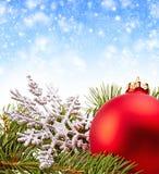 Christmas Decoration (fir branch,christmas ball,snowflake) Royalty Free Stock Photo