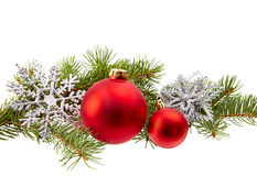 Christmas Decoration (fir branch,christmas ball,snowflake,) isol Royalty Free Stock Photography