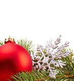 Christmas Decoration (fir branch,christmas ball,snowflake) Stock Photos