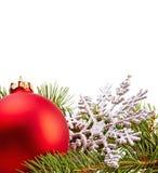 Christmas Decoration (fir branch,christmas ball,snowflake) Stock Photos