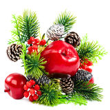 Christmas decoration, fir branch, pine cones, cranberry, apple. Stock Photo